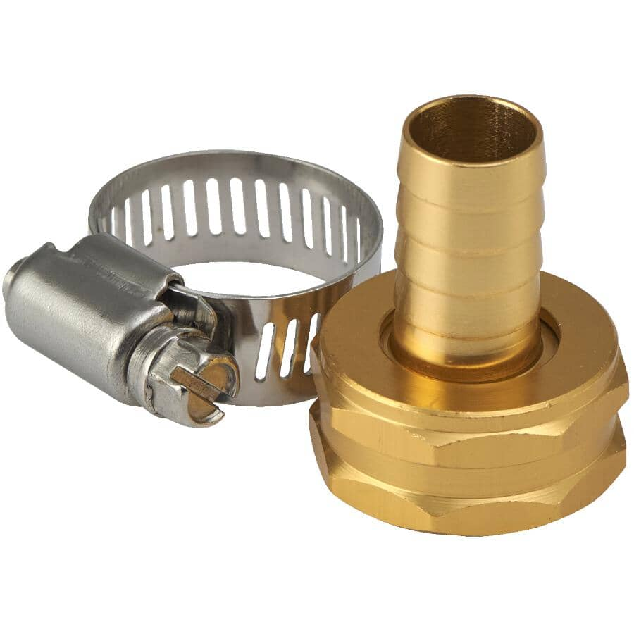 """HOME GARDENER:1/2"""" x 3/4"""" Female Aluminum Hose Coupling, with Stainless Steel Clamp"""