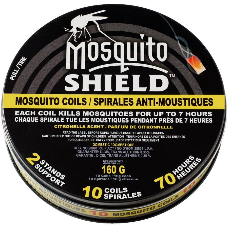 MOSQUITO SHIELD:7-Hour Mosquito Coils - with Two Stands, 10 Pack