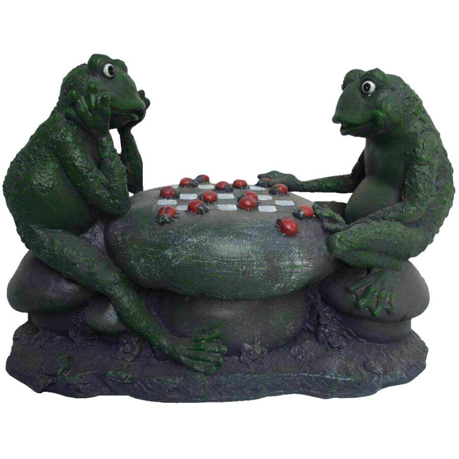 ANGELO DECOR:Frogs Playing Checkers Garden Statue