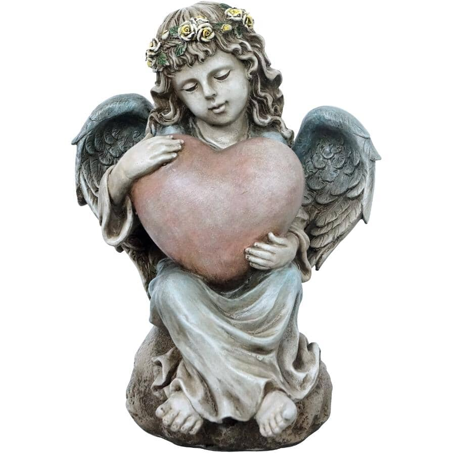 """ANGELO DECOR:14"""" Angel Lawn Ornament, with Heart"""