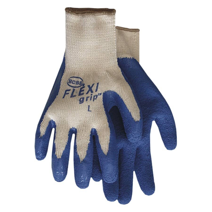 BOSS:Men's Flexi Grip Poly / Cotton Garden Gloves - with Latex Coating, Large