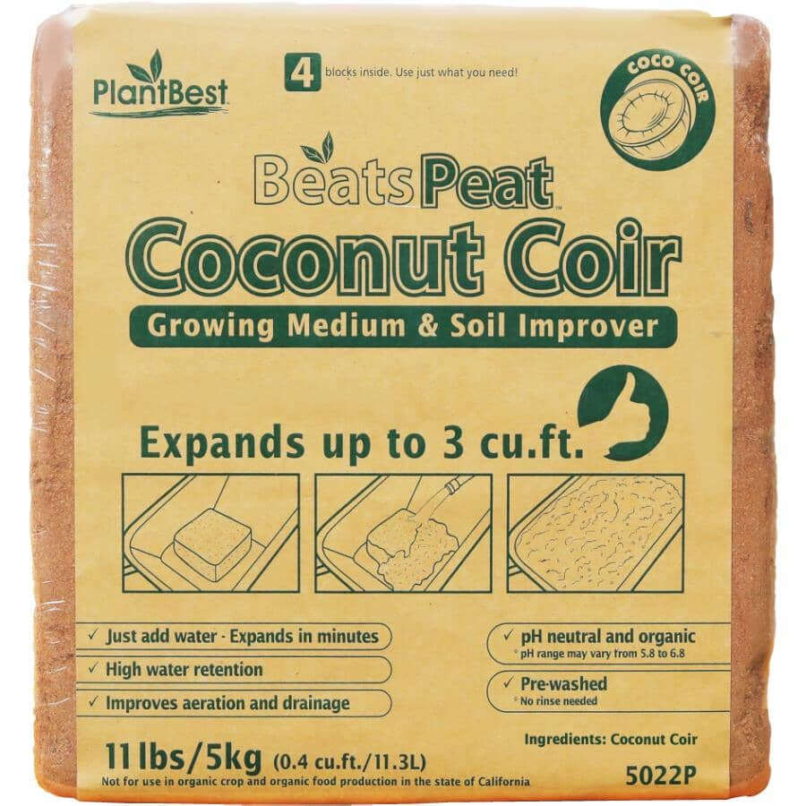 PLANTBEST:BeatsPeat Coconut Fibre Coir Blocks - 3 Cu.Ft.