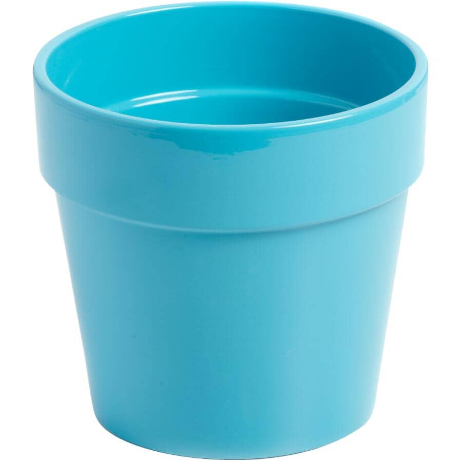 """HOFLAND:6"""" Blue Malibu Ceramic Planter"""