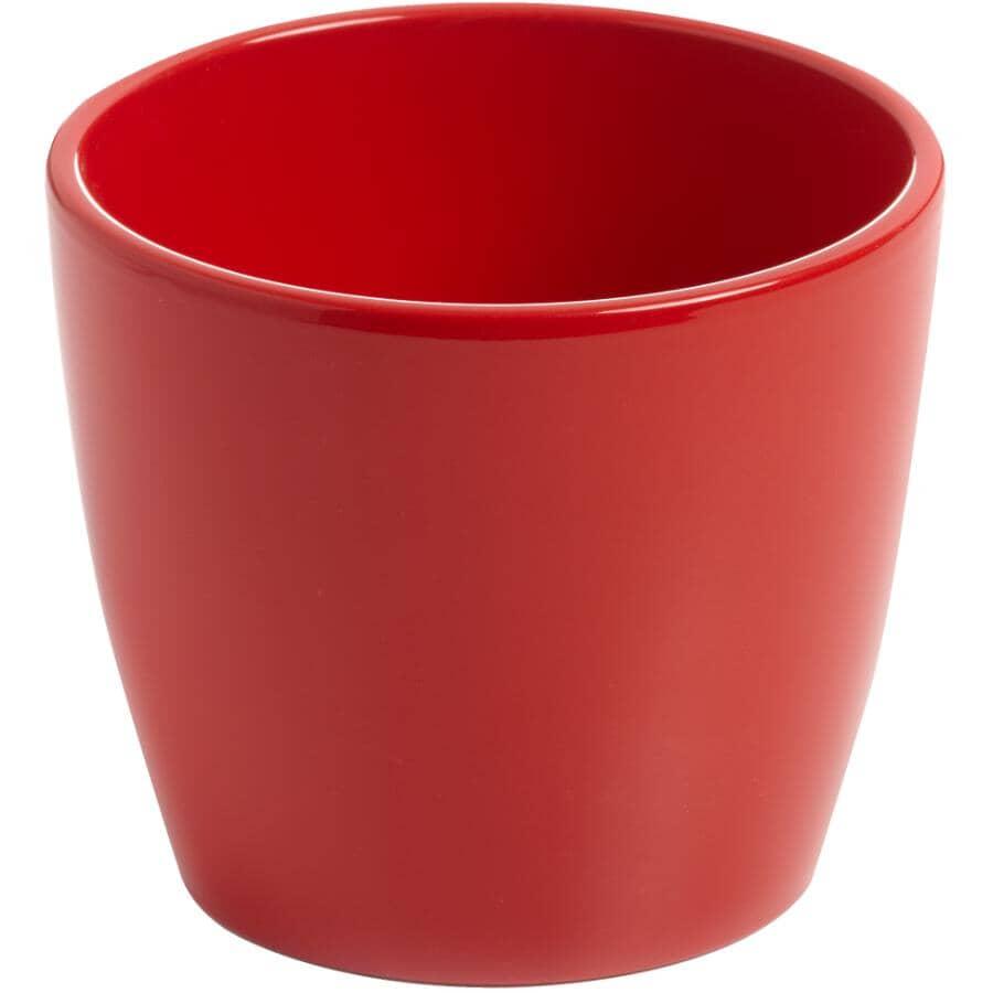 "HOFLAND:4"" Red Marlow Ceramic Planter"