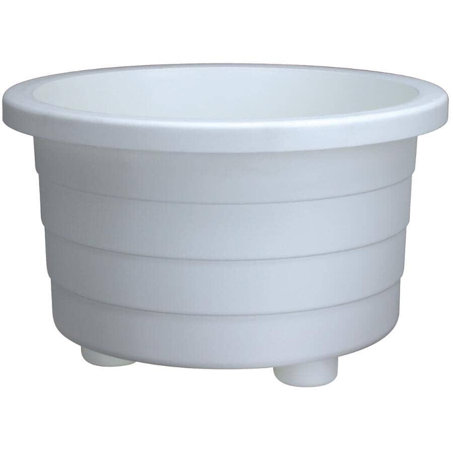 DCN:Jardinière ronde pour terrasse, blanc, 18 po