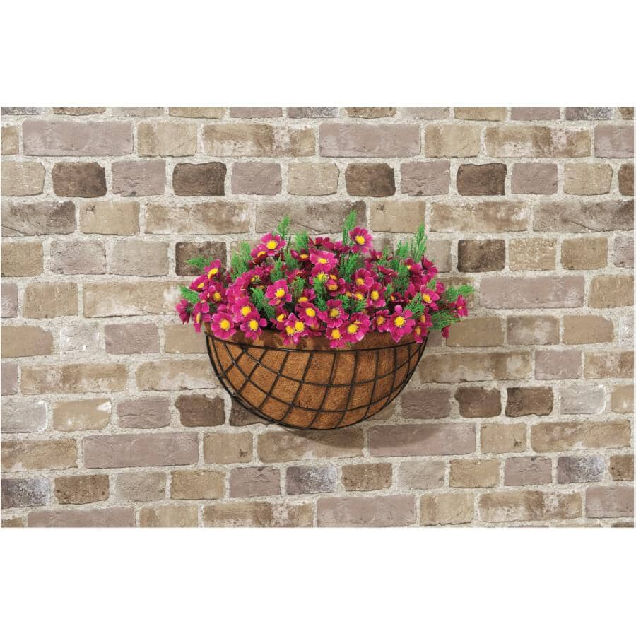 """WIRECRAFT:16"""" Wall Wire Basket, with Coco Liner"""