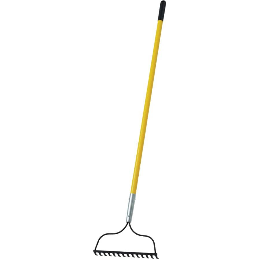 """CONTRACTORS CHOICE X-TRA:14 Tines Bow Rake, with 54"""" Fiberglass Handle"""