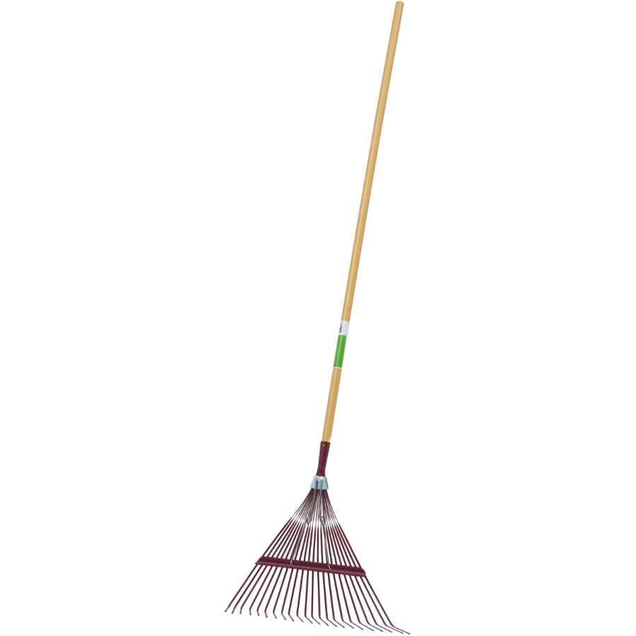 "HOME GARDENER:22 Tines Spring Braced Fan Rake - with 52"" Handle & 15/16"" Diameter"