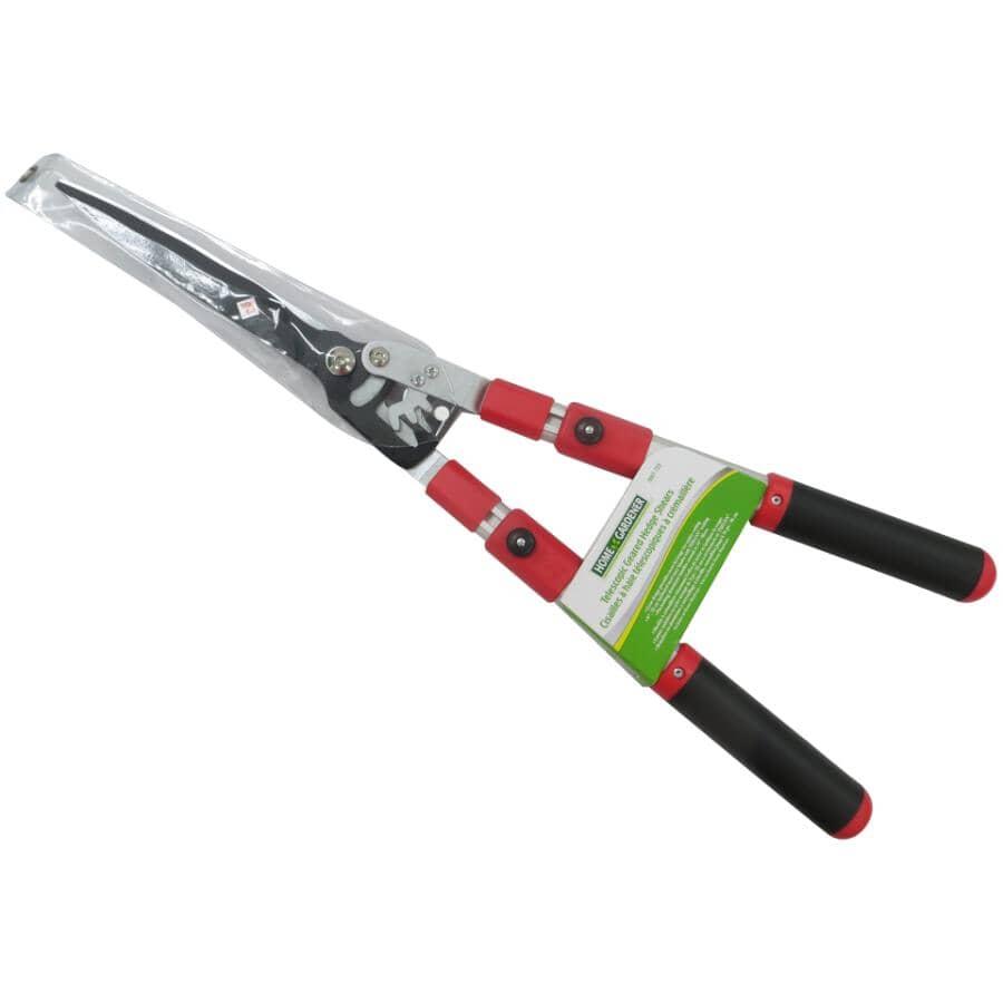 HOME GARDENER:Cisailles avec lames ondulées de 9 po pour haie avec manche télescopique de 25,4 po à 33,5 po