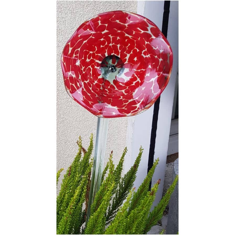 "HOME2GARDEN:22"" Red Flower Glass Stake"