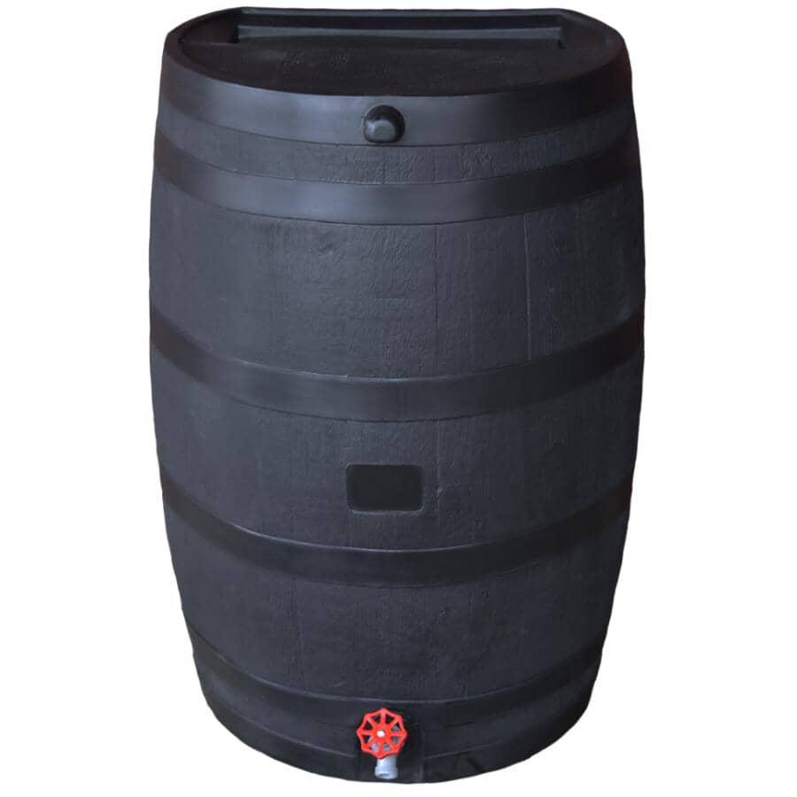 RTS PLASTICS:50Gal Black Eco Flatback Rain Barrel