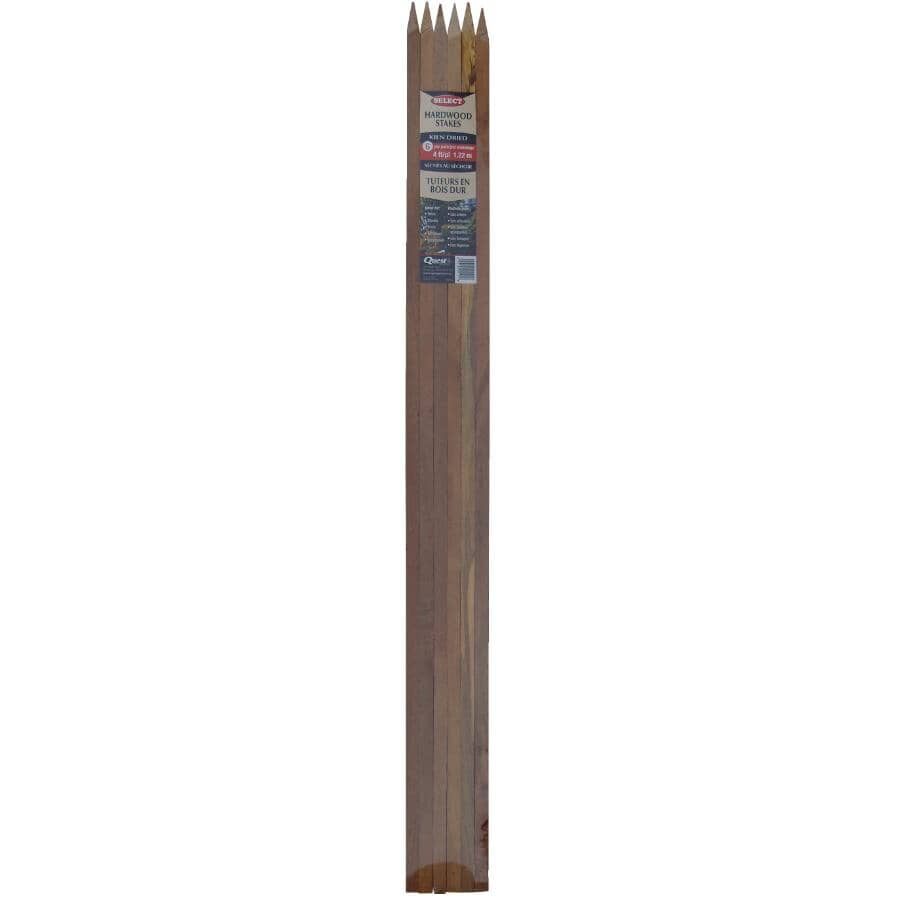 QUEST BRANDS:6 Pack 4' Hardwood Plant Stake