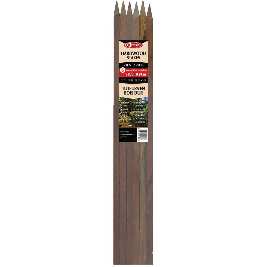 """QUEST BRANDS:6 Pack 1/2"""" x 3' Hardwood Plant Stakes"""