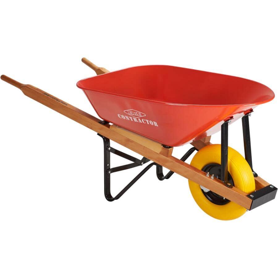 ERIE:6 Cu. Ft Steel Tray Wheelbarrow, with Flat Free Tire