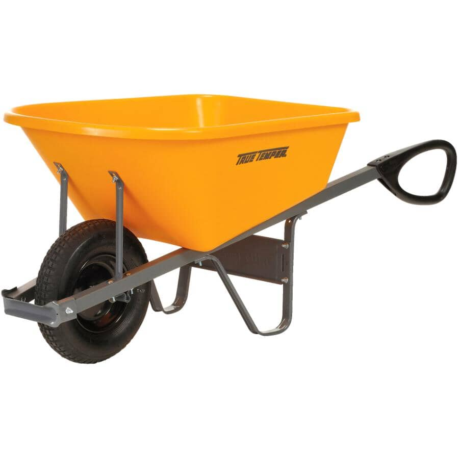 TRUE TEMPER:6 Cu. Ft Poly Tray Wheelbarrow, with Ergonomic Grip Handles