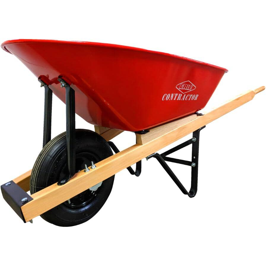 ERIE:6 Cu. Ft Deluxe Steel Tray Wheelbarrow, with Wood Handles