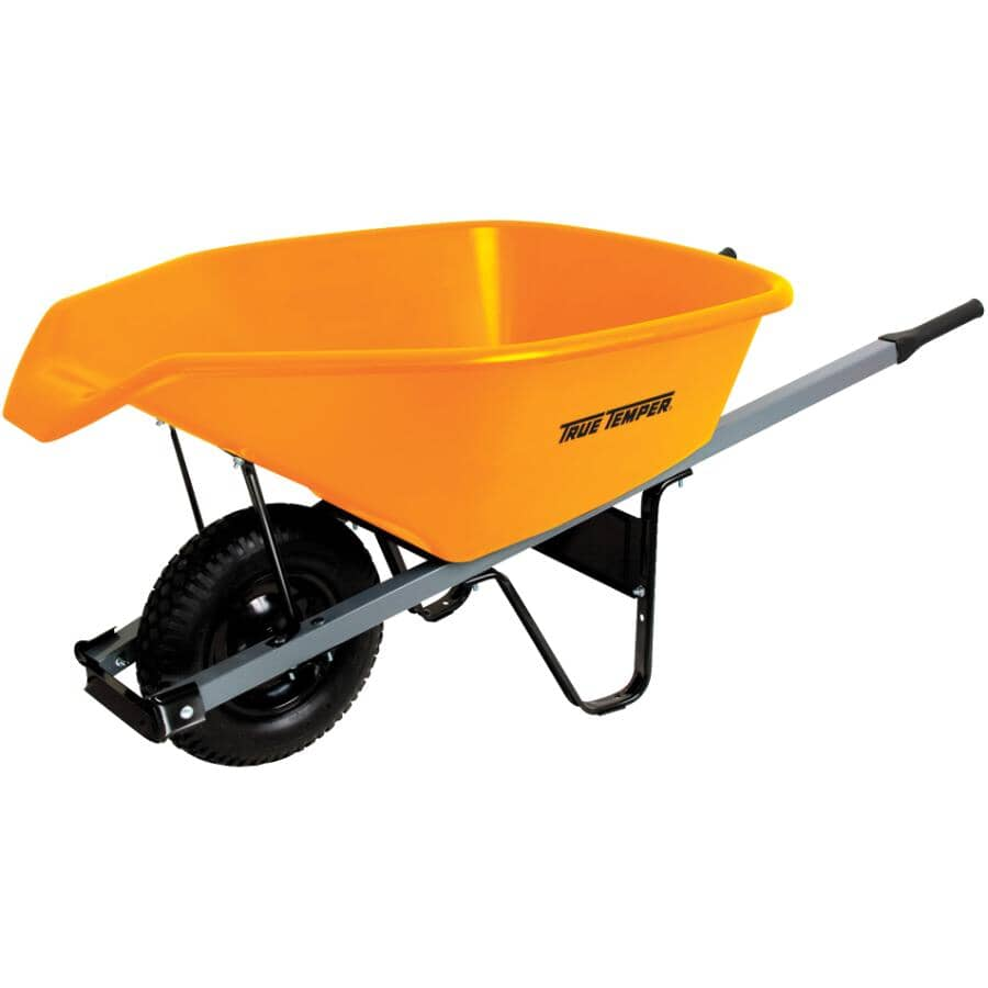 TRUE TEMPER:6 Cu. Ft Poly Tray Wheelbarrow, with Easy Pour Spout