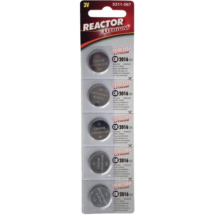 REACTOR:3 Volt Lithium CR2016 Watch & Electronics Batteries -  5 Pack