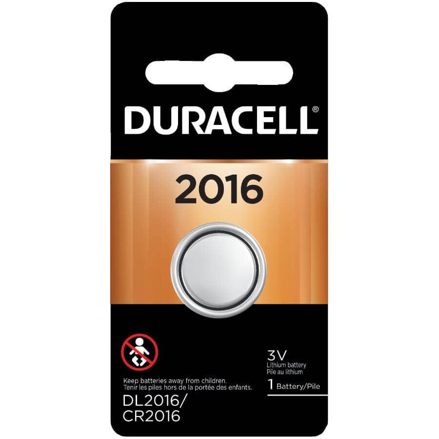 DURACELL:3 Volt Lithium CR2016 Watch & Electronics Battery