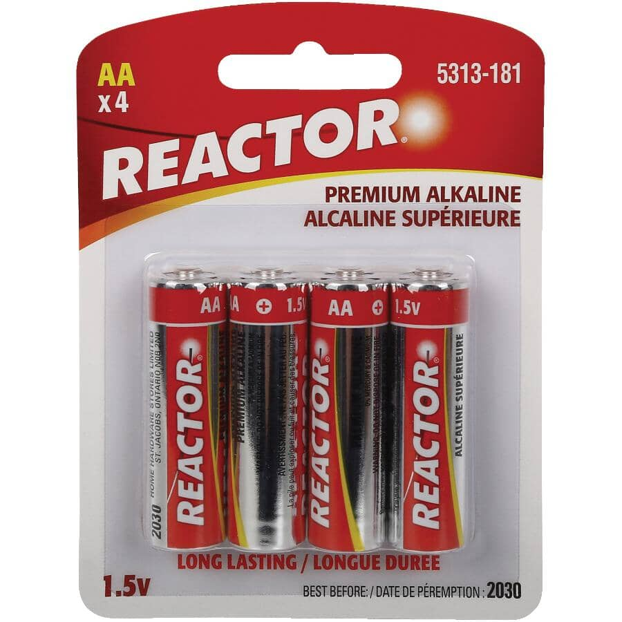 REACTOR:Premium Alkaline AA Batteries - 4 Pack