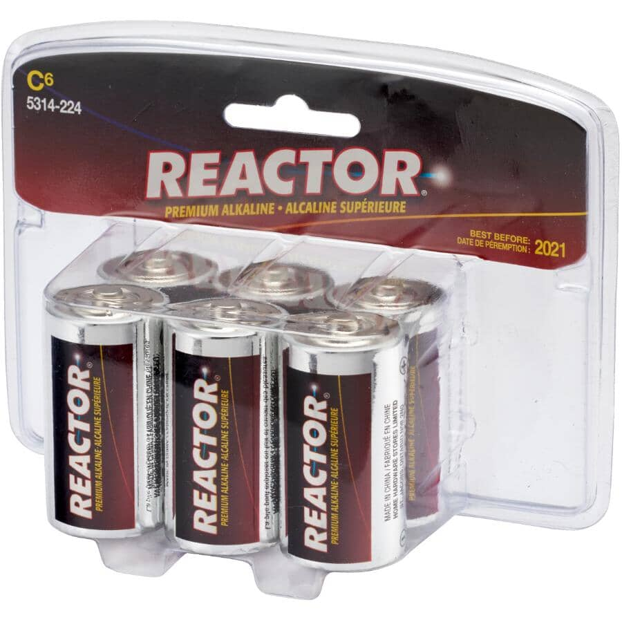 REACTOR:Premium Alkaline C Batteries - 6 Pack