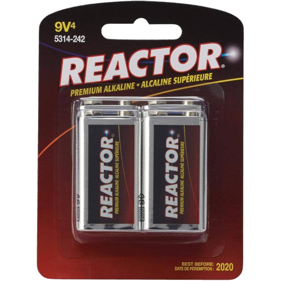 REACTOR:Premium Alkaline 9V Batteries - 4 pack
