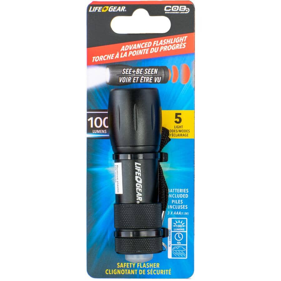 LIFE GEAR:Mini Max LED Flashlight - with 3 AAA Batteries, Assorted Colours