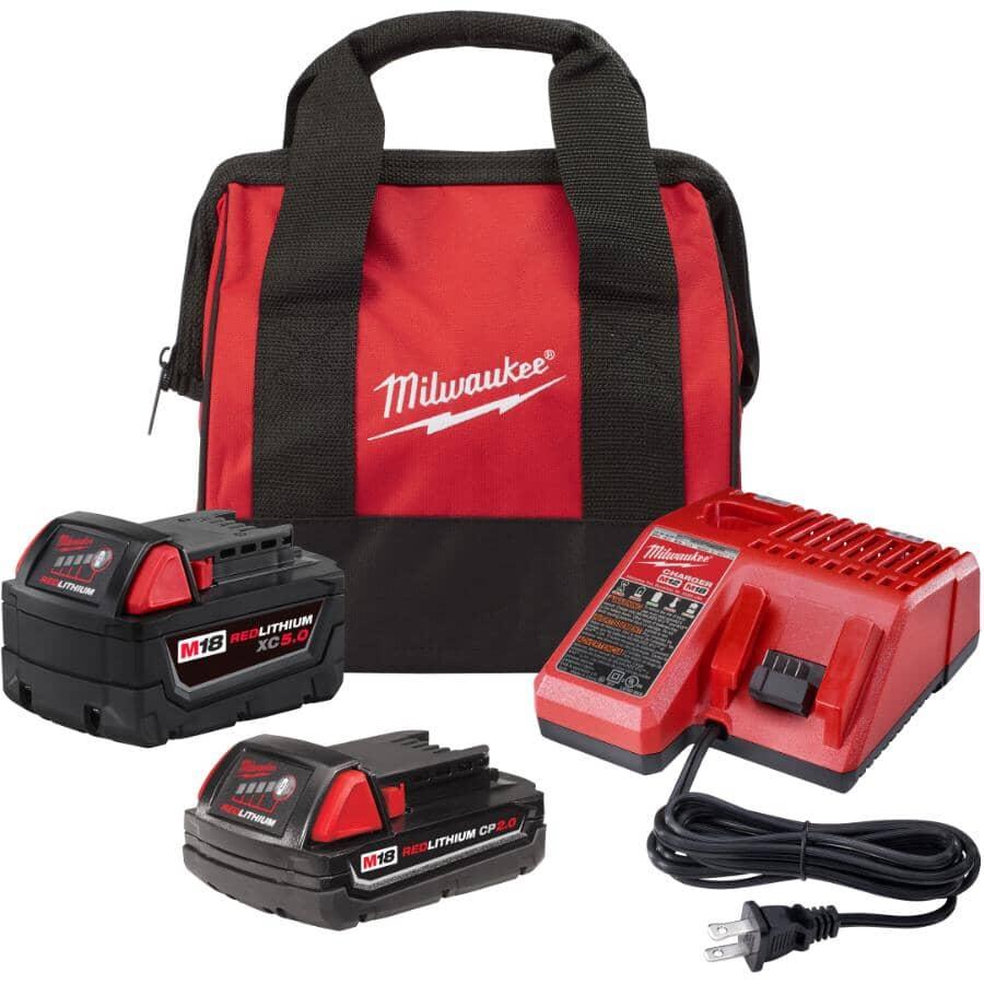 MILWAUKEE:M18 Redlithium Batteries & Charger Kit - 18V, 2.0 & 5.0 Ah