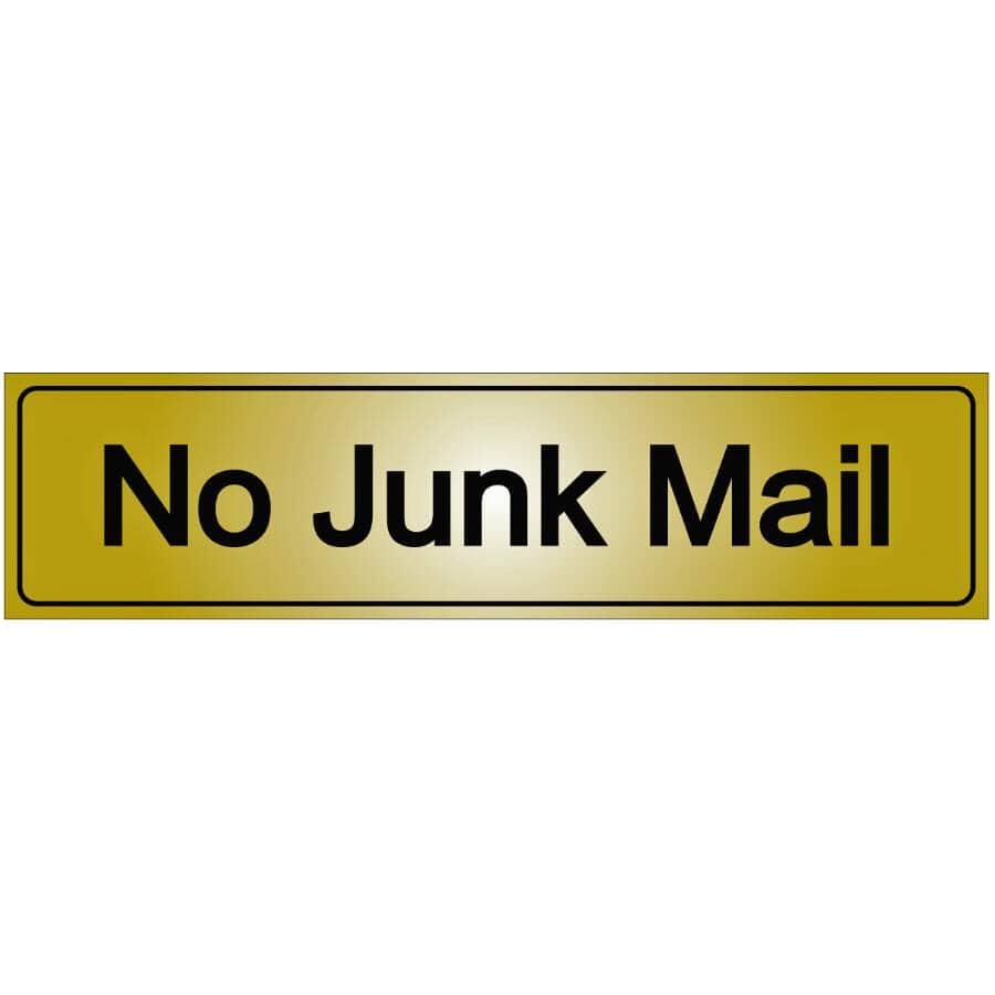"KLASSEN:2"" x 8"" Metal Stick On No Junk Mail Sign"