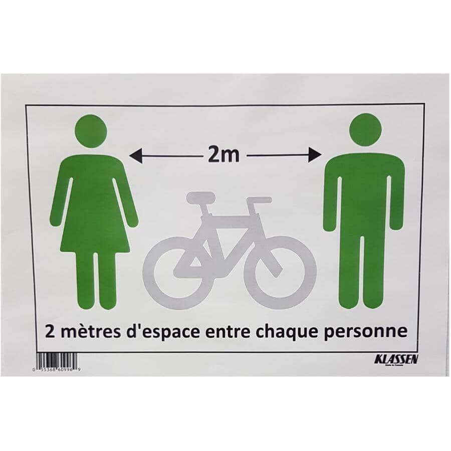 """KLASSEN:2 Mètres d'Espace Entre Chaque Personne Sign - 8"""" x 12"""""""