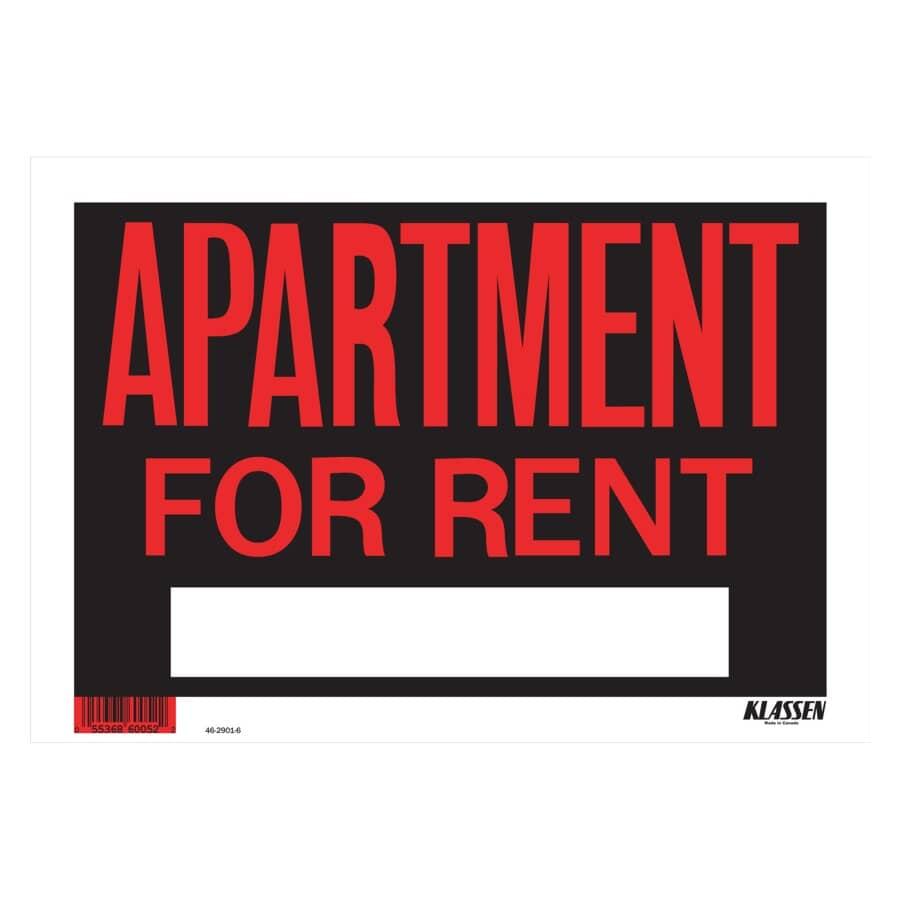 "KLASSEN:8"" x 12"" High Impact Apartment For Rent Sign"