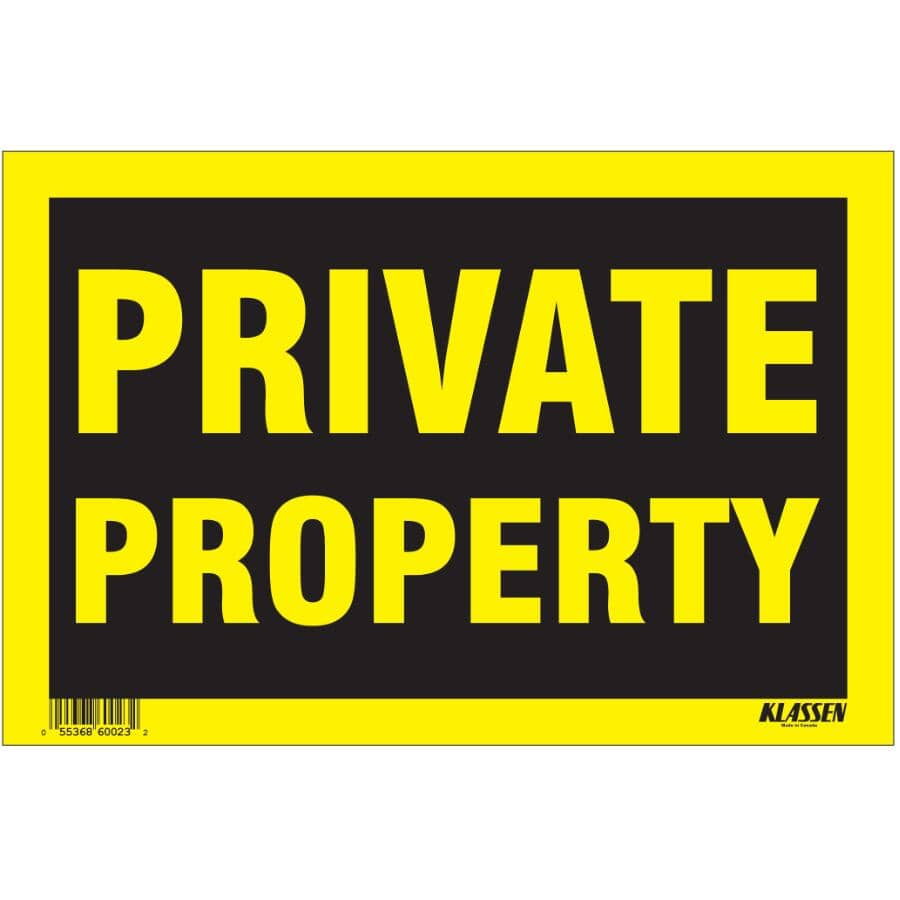 "KLASSEN:8"" x 12"" Private Property Sign"