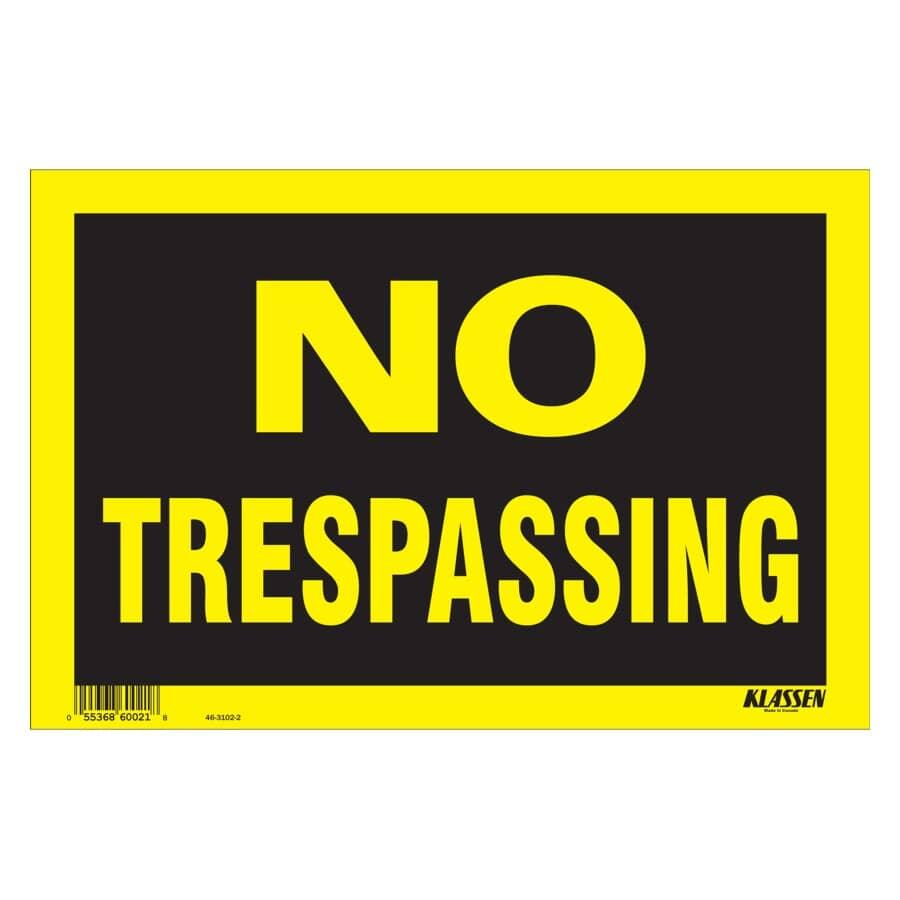 """KLASSEN:8"""" x 12"""" High Impact No Trespassing Sign"""