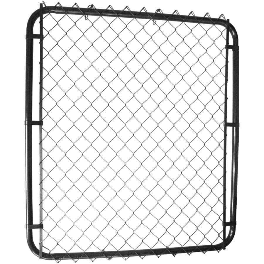 """MASTER HALCO:46""""H x 24"""" to 72""""W Adjustable 11 Gauge Black Chain Link Gate, with 2"""" Squares"""