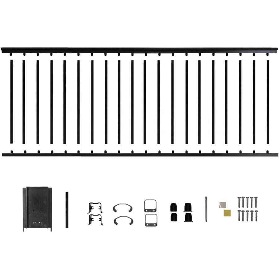 """NUVO IRON:8' x 42"""" Black Aluminum Railing Kit"""