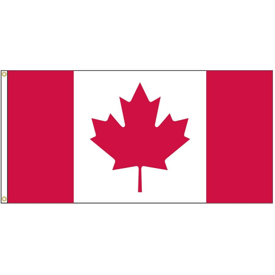"""FLAGS UNLIMITED:Canada Flag, with Two Grommets - 36"""" x 72"""""""