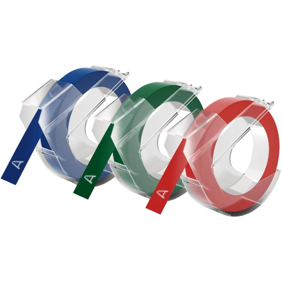 """DYMO:3 Pack 3/8"""" x 116"""" Red/Blue/Green Glossy Tape"""