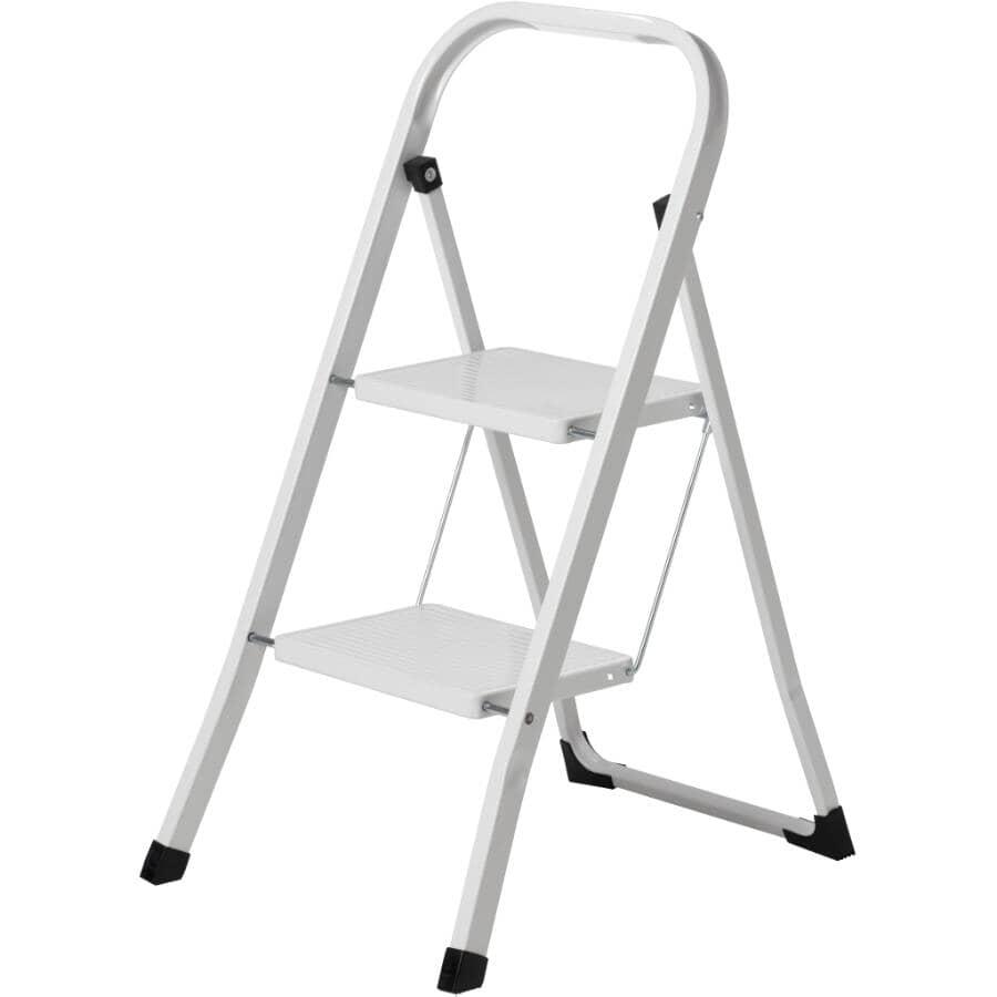 HOME:White 2 Step Steel Step Ladder