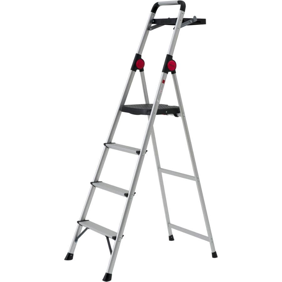 BENCHMARK:4 Step Aluminum Step Ladder, with High Handrail and Paint Tray