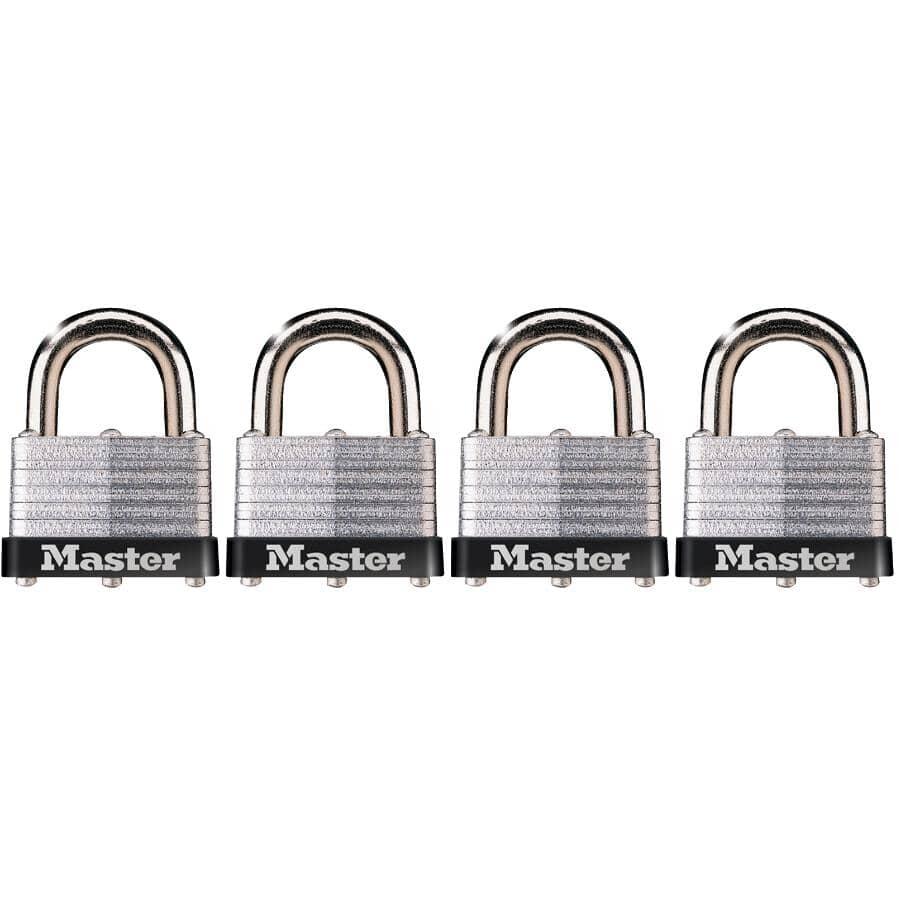 "MASTER LOCK:4 Pack 1-9/16"" Warded Laminated Steel Padlocks"