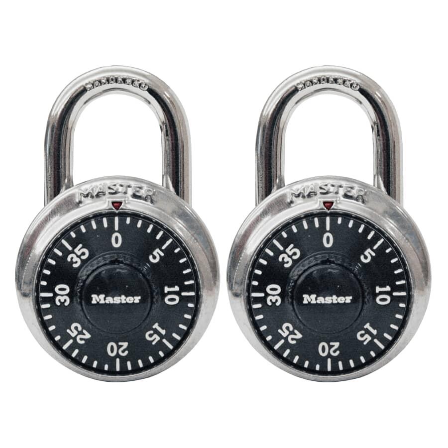 MASTER LOCK:Paquet de 2 cadenas à combinaison de 1-7/8 po