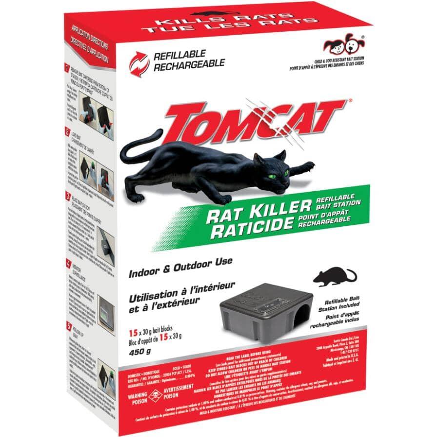TOMCAT:Paquet de 15 appât rechargeables pour rats, avec poste