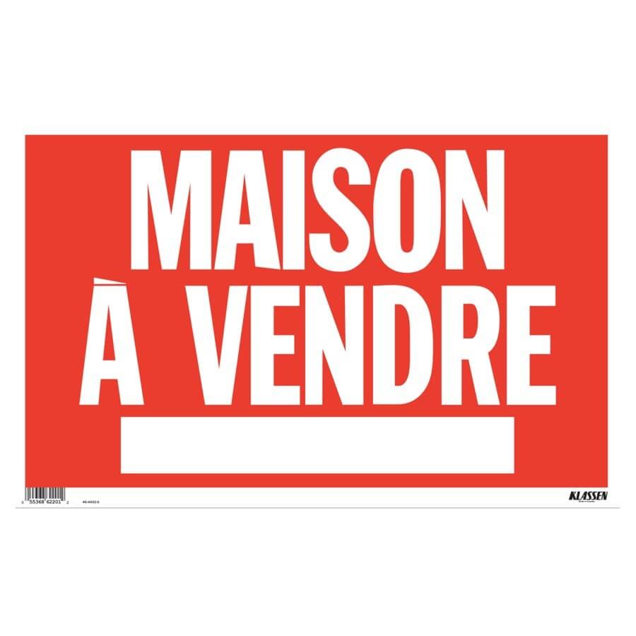 """KLASSEN:12"""" x 19"""" Maison a Vendre Sign"""