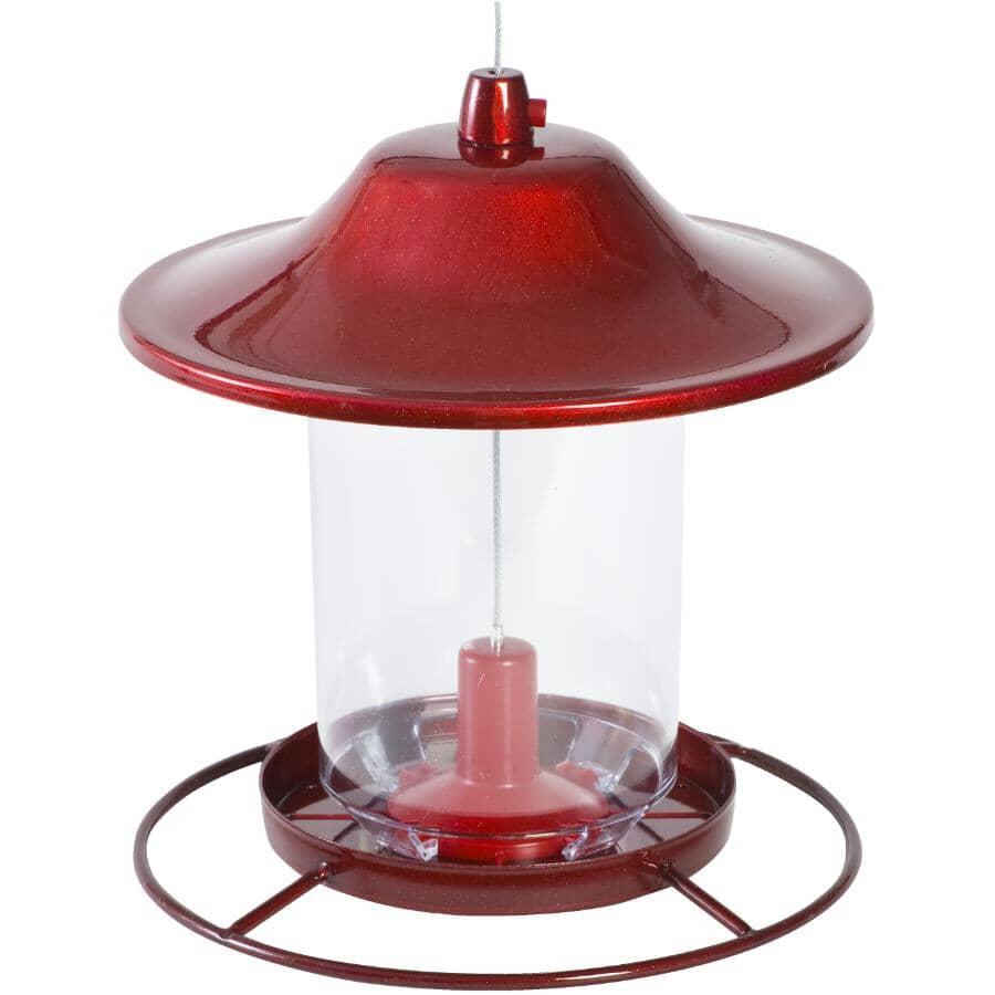 PERKY PET:Panorama Hanging Bird Feeder - Red Sparkle, 2 lb Capacity