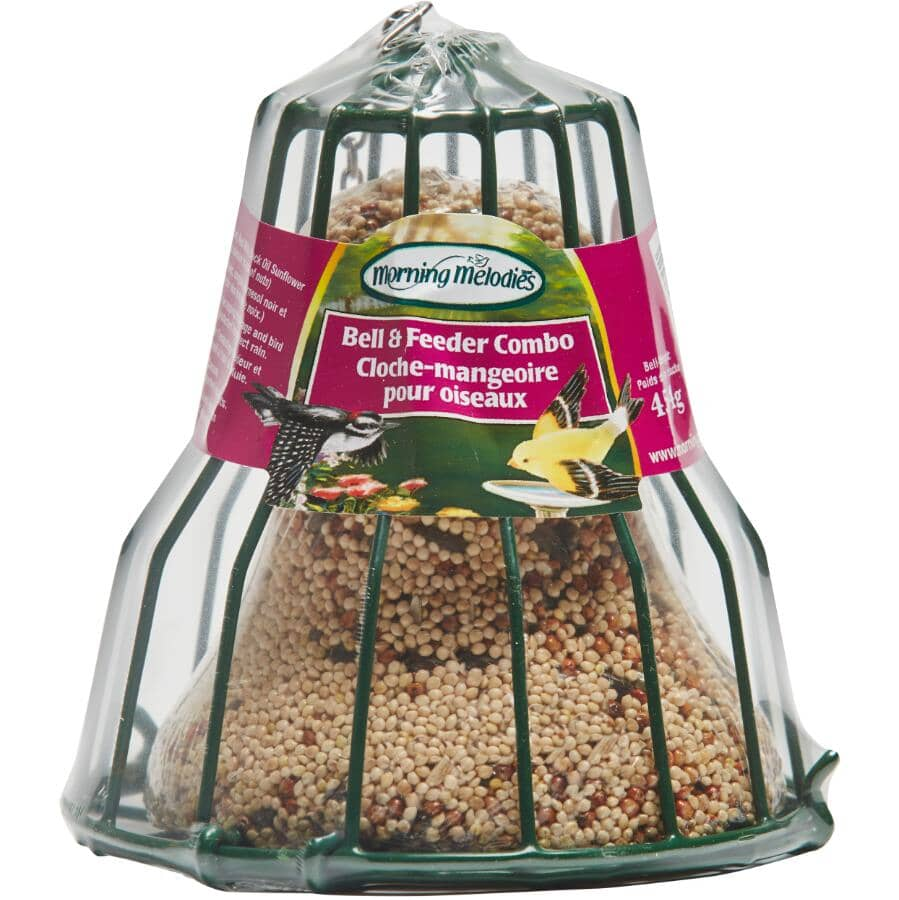 MORNING MELODIES:Bird Food Bell & Feeder Combo - 454 g