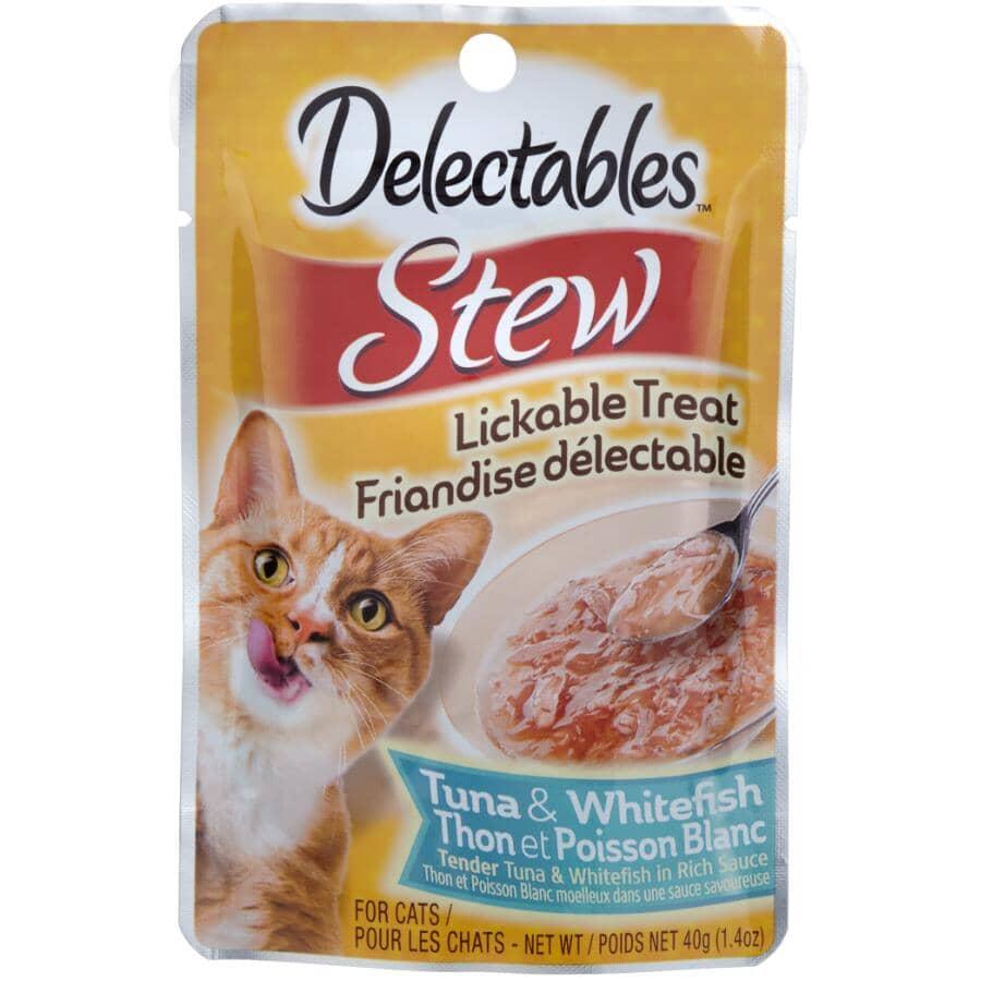 HARTZ:Friandises délectables pour chats séniors ragoût au thon et au poisson blanc, 40 g