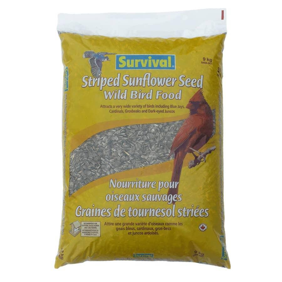 SURVIVAL:Graines de tournesol rayées pour oiseaux sauvages, 9 kg