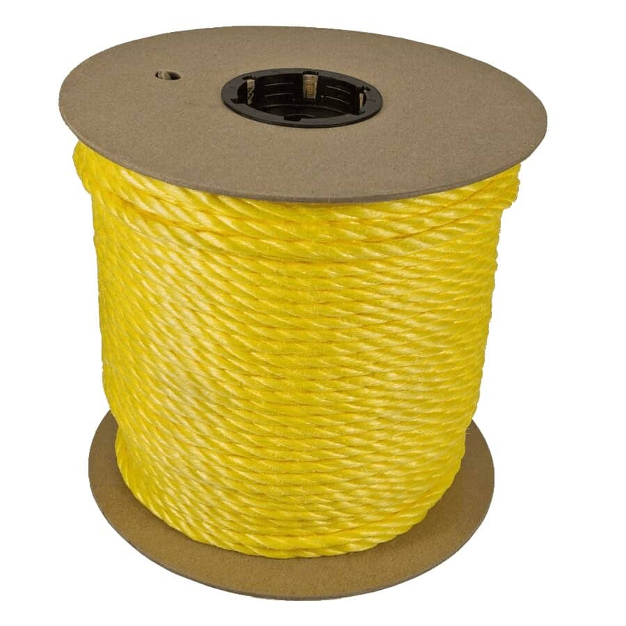 CANADA CORDAGE:Corde en polypropylène torsadé de 1 pi x 1/2 po vendue au pied, jaune