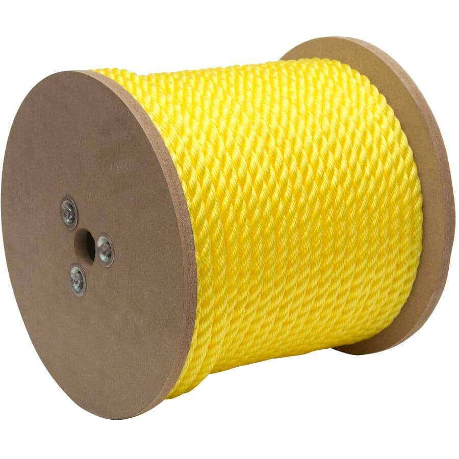 "KINGCORD:1' x 3/8"" Yellow Twisted Polypropylene Rope"