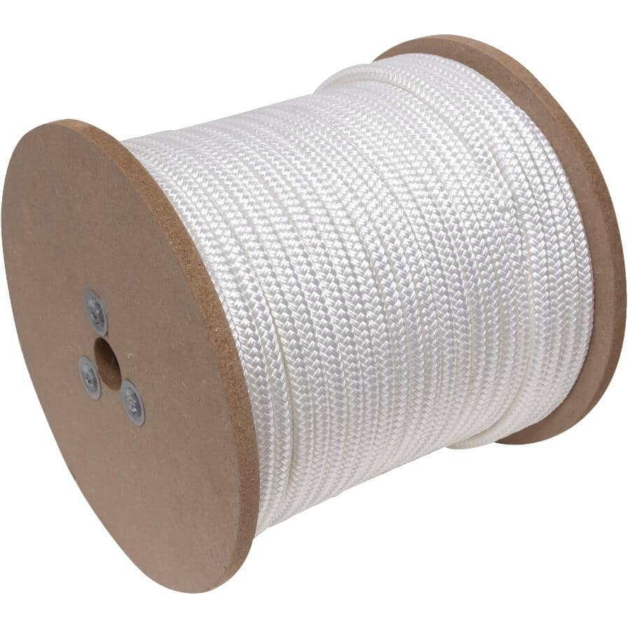 "KINGCORD:1' x 1/2"" White Nylon Double Diamond Braid Rope, per Foot"